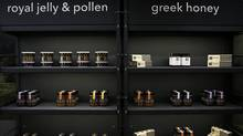 Apivita products are displayed at the new multi-storey shop of the company in central Athens, in the Kolonaki area, June 27, 2014. (Alkis Konstantinidis for The Globe and Mail)