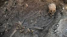 "Remains found underneath a car park in September 2012 in Leicester have been declared ""beyond reasonable doubt"" to be the long lost remains of England's King Richard III, missing for 500 years. A British High Court judge on Friday Aug. 16 2013 granted a group of Richard's relatives the right to challenge plans to rebury the 15th-century monarch in the city of Leicester. (University of Leicester/AP)"