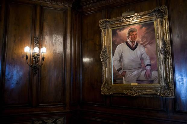 A portrait of Donald Trump hangs in the bar at the Mar-a-Lago estate in Palm Beach, Fla., on March 4, 2016.