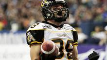 Hamilton Tiger-Cats' wide receiver Dave Stala celebrates (Olivier Jean/Reuters)