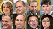 From top left, eight of the nine contenders running to succeed Jack Layton as NDP leader are shown in a photo combination: Peggy Nash, Brian Topp, Thomas Mulcair, Paul Dewar, Robert Chisholm, Nathan Cullen, Romeo Saganash and Nikki Ashton. Not pictured: Martin Singh. (The Canadian Press)