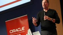 "Oracle chief executive officer Larry Ellison, who has used acquisitions to boost the company's revenue dramatically over the past decade, had said in October that he would not rule out a big deal ""down the road."" (ROBERT GALBRAITH/REUTERS)"