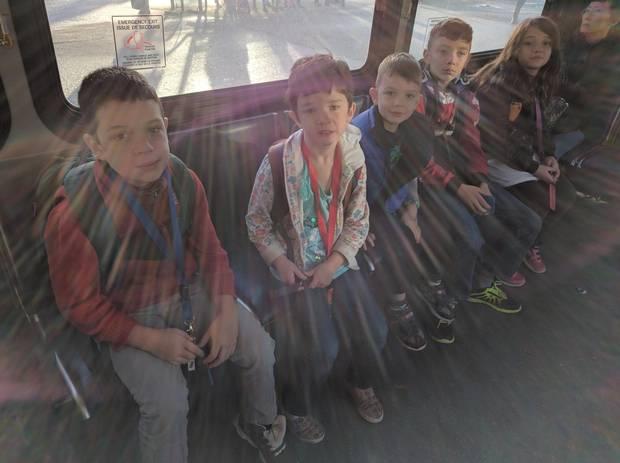Adrian Crook's kids en route to school.