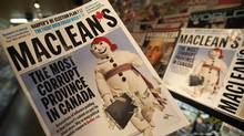 The latest edition of Maclean's magazine, which has sparked furor in Quebec, is seen at a news stand in North Vancouver on Sept. 24, 2010. (Jonathan Hayward/THE CANADIAN PRESS)