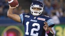Toronto Argonauts quarterback Jarious Jackson throws the football against the Montreal Alouettes during first half CFL football action in Toronto on Sunday, Oct. 14, 2012. THE CANADIAN PRESS/Nathan Denette (Nathan Denette/THE CANADIAN PRESS)