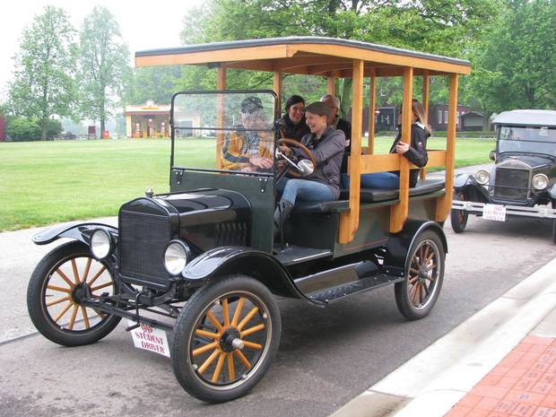Joanne Elves learning to drive a 1919 Model T.