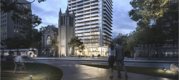 Parts of Deer Park United Church are being incorporated into the new Blue Diamond Condos on St. Clair Avenue West in Toronto.