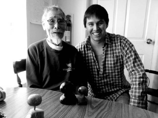 Michael Etherington (right) had a transformative experience with Inuk elder Mariano Aupilardjuk in 2009.