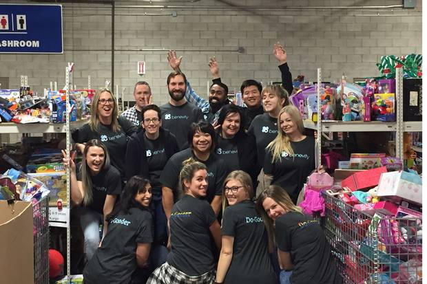 Benevity's marketing team volunteers through the Toy Mountain group. All employees volunteer during their first week of working at the company.