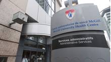 The McGill University Health Centre offices in Montreal, where members of Quebec's anti-corruption squad conducted a raid at the premises. (Graham Hughes/The Canadian Press)