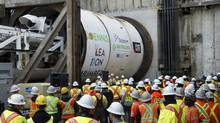 Media were invited to the Eglinton Crosstown West launch shaft for the launch of tunnel-boring machines in Toronto, June 5, 2013. (Kevin Van Paassen/The Globe and Mail)