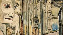 A detail from Emily Carr's Kitseukla watercolour