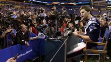 New England Patriots quarterback Tom Brady answers a question during Media Day in Indianapolis. (David J. Phillip/Associated Press/David J. Phillip/Associated Press)