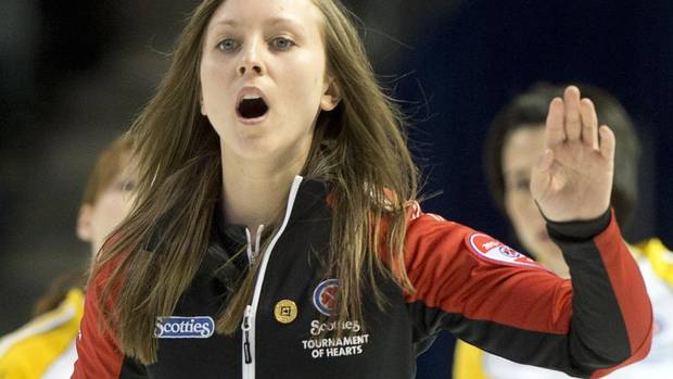 Ontario skip Rachel Homan takes a shot during gold medal curling action against Manitoba at the Scotties Tournament of Hearts Sunday, February 24, 2013 in Kingston, Ont. (Ryan Remiorz/THE CANADIAN PRESS)