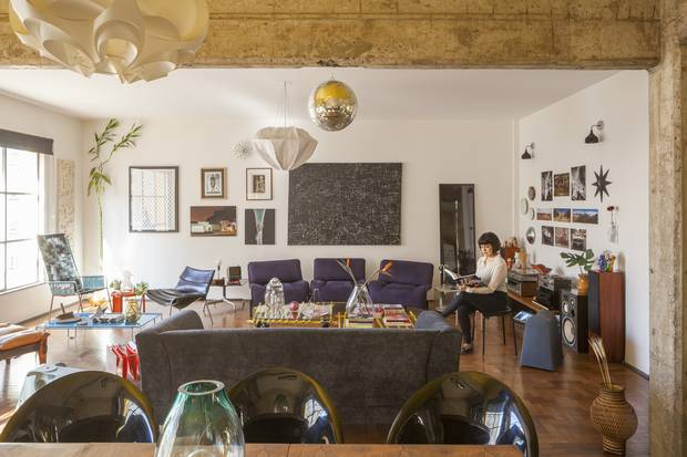 Carol Gay's Sao Paulo apartment is filled with decorative objets that rival the art outside her windows.