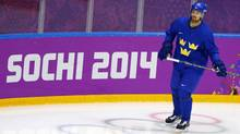 Sweden men's ice hockey player Daniel Sedin skates during a team practice at the 2014 Sochi Winter Olympics February 22, 2014, ahead of their gold medal game against Canada on February 23. (BRIAN SNYDER/REUTERS)