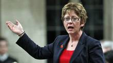 Human Resources Minister Diane Finley speaks during Question Period in the House of Commons on Feb. 18, 2011. (CHRIS WATTIE/REUTERS)