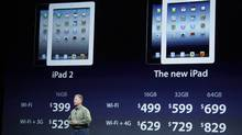 Apple's senior vice president of Worldwide Marketing Phil Schiller talks about new WiFi and 3G pricing for the iPad2, left, and the new iPad, right, during an Apple event in San Francisco, Wednesday, March 7, 2012 (Paul Sakuma/Paul Sakuma/AP)