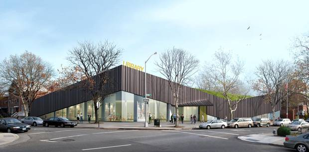 Kew Gardens Hills branch library in Queens, N.Y., by the office WORK AC.
