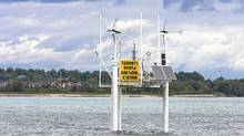 Toronto Hydro's anemometer platform in Lake Ontario east of the Scarborough bluffs, installed to investigate whether an offshore wind project in the area is economically viable. (Peter Power/Peter Power/The Globe and Mail)