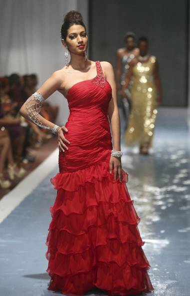A model wears a creation by Amanda's Brides at Guyana Fashion Week (ANDREA DE SILVA/REUTERS)