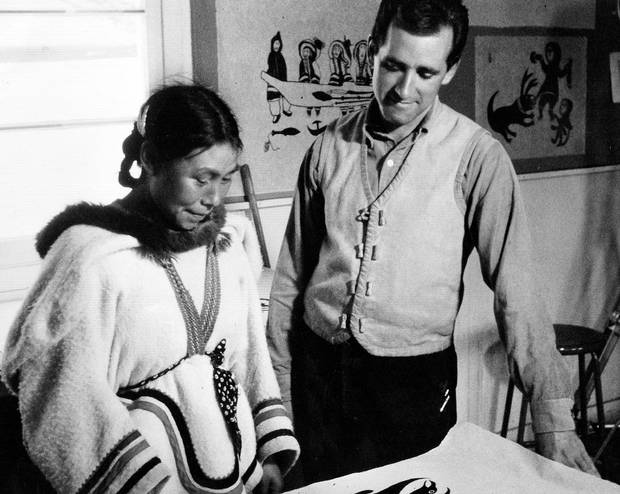Terry Ryan with artist Kenojuak Ashevak, one of the West Baffin Eskimo Co-operative's most celebrated artists.