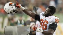 B.C . Lions tackle Khalif Mitchell (John Ulan/THE CANADIAN PRESS)