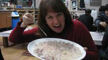 The author celebrates with hwe, raw fish and soju (rice liquor). (carrie kierstead)