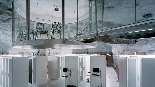 Where the cloud lives: Sweden Thirty metres below Stockholm, in a former civil-defence nuclear shelter, Swedish ISP Bahnhof AB's Pionen Data Centre is the perfect storage facility for sensitive info like WikiLeaks' files (which are stored there). With its 40-cm-thick doors, Pionen has been compared to a Bond villain's lair. (Christoph Morlinghaus/Casey)
