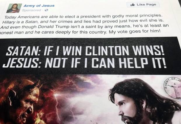 This Facebook ad was listed as an example of Russian political advertising in the recent indictment charging 13 Russians and three Russian entities with being part of an elaborate plot to interfere in the 2016 U.S. presidential election.