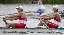 Canada's Scott Frandsen, left, and David Calder race in the men's pair semifinal during the 2012 Summer Olympics in Dorney, England on Wednesday, August 1, 2012. (The Canadian Press)