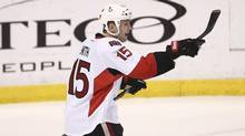 Ottawa Senators' Zack Smith celebrates after the Senators third goal against the Florida Panthers during the second period of a NHL hockey game in Sunrise, Fla., Tuesday, Dec. 3, 2013. (J PAT CARTER/AP)