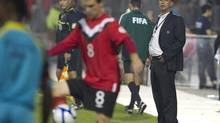 Canada's coach Stephen Hart watches from the touchline during second half 2014 World Cup qualifying game action against St. Lucia in Toronto on Friday September 2, 2011. (Chris Young/The Canadian Press)