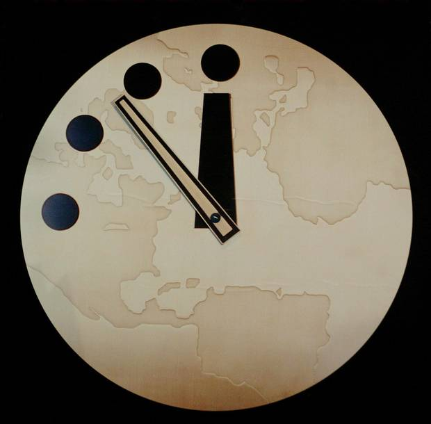 The Doomsday Clock has been used by the Bulletin of Atomic Scientists since 1947 to represent the perceived danger of a catastrophic nuclear event. Shown here in 2002, it's seven-and-a-half minutes to midnight; as of Jan. 26, 2017, it's at two-and-a-half minutes.