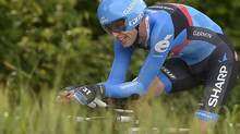 Canada's Ryder Hesjedal pedals during the eight stage of the Giro d'Italia, Tour of Italy cycling race, an individual time trial from Gabicce to Saltara, Saturday May 11, 2013. (Fabio Ferrari/AP)