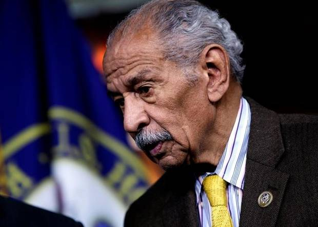 Feb. 14, 2017, Rep. John Conyers attends a news conference on Capitol Hill in Washington.