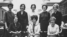First eight women admitted to first year of MBA program, 1963. HBS Archives Photograph Collection: Student Life. Baker Library Historical Collections. (Digiuser)