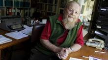 Farley Mowat, seen here at age 89, in his Port Hope, Ontario home on October 13, 2010. (The Globe and Mail/Peter Power)