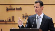 In this photo released by the Syrian official news agency SANA, Syrian President Bashar Assad delivers a speech at Damascus University, in Damascus, Syria, Tuesday, Jan. 10, 2012. (Handout/SANA/AP/Handout/SANA/AP)