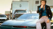 David Hasselhoff and his improbably large hair, with KITT from the TV series Knight Rider. (NBC Photo)