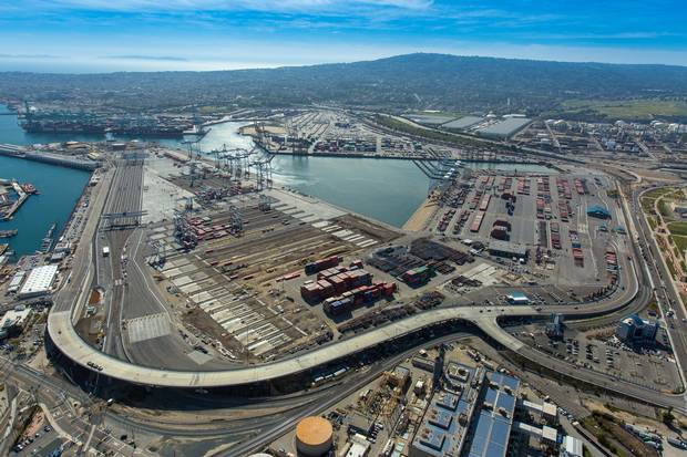 The TraPac LLC shipping terminal in seen in this aerial photograph taken over the Port of Los Angeles in March of 2016.