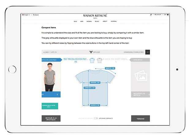 The Virtusize interface is used by online retailers such as Maison Kitsuné to allow customers to compare clothing they own with pieces they're purchasing.