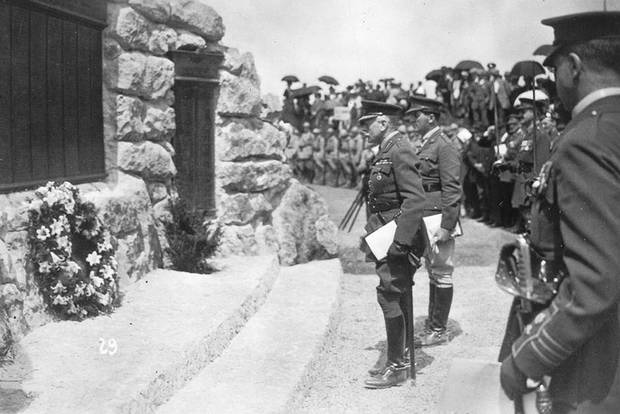 Field Marshal Earl Haig and Lt. Col. Thomas Nangle at War Memorial, Beaumont Hamel Park, France, June 7, 1925.