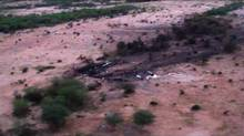 This photo provided Friday, July 25, 2014 by the French army shows the site of the plane crash in Mali. (Uncredited/THE ASSOCIATED PRESS)