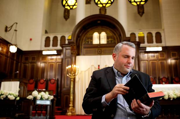 Gideon Zelermyer, cantor of the Shaar Hashomayim congregation, and Cohen collaborator on the artist's upcoming album, in the Sanctuary of the Shaar in the Westmount neighbourhood.