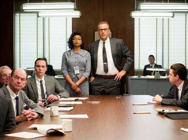Taraji P. Henson and Kevin Costner in Hidden Figures.