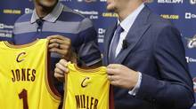 Cleveland Cavaliers' James Jones, left, and Mike Miller hold up their jersey's (Tony Dejak/AP)
