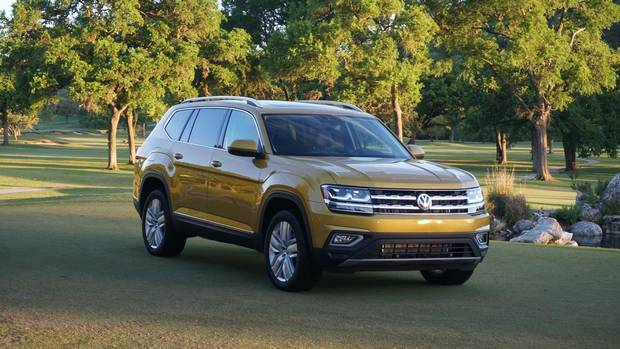 The VW Atlas will launch in June as an AWD model with a 3.6-litre V-6 engine, with a smaller front-drive version to follow.
