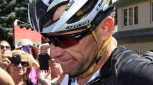 FILE - In this Aug. 25, 2012, file photo, Lance Armstrong considers a question from a reporter after his second-place finish in the Power of Four mountain bicycle race at the base of Aspen Mountain in Aspen, Colo (Associated Press)