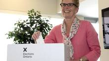 Ontario Liberal leader Kathleen Wynne casts her ballot in Toronto on Thursday June 12, 2014. (Frank Gunn/THE CANADIAN PRESS)